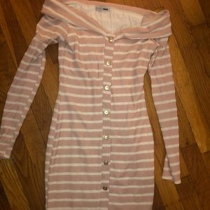 White and pink strip off shoulder stretchy dress